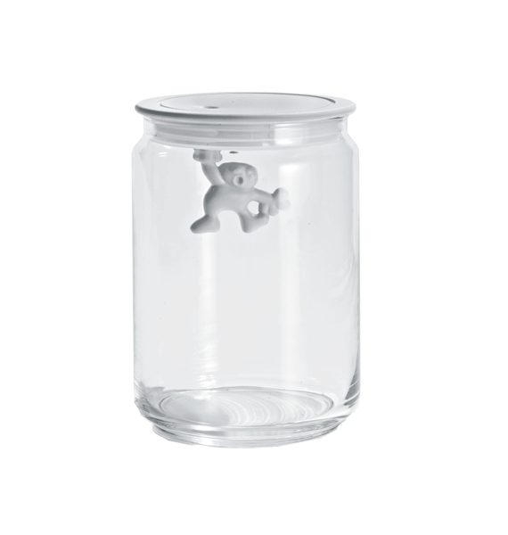 Alessi Gianni White Glass Jar with Lid