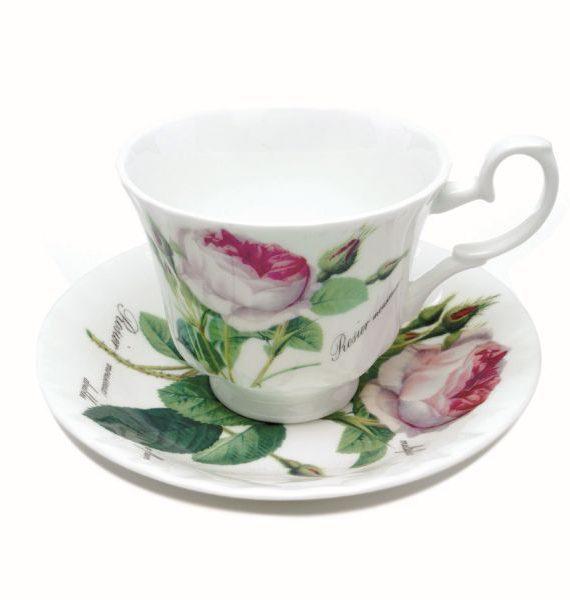 Roy Kirkham Redoute Rose Tea Cup and Saucer-Roy Kirkham