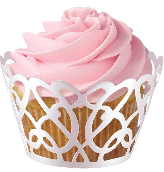 Wilton White Pearl Swirl Cupcake Wraps-Wilton